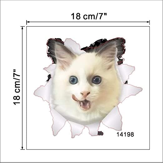 Pegatinas decorativas pared 3d Gatos pared 3D Etiqueta Aseo ...