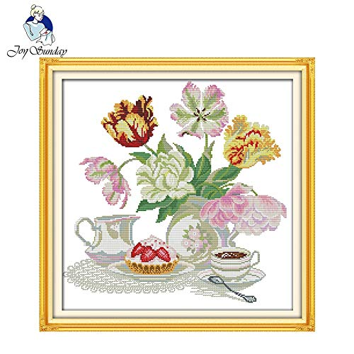 Ochoos Afternoon Tea Dessert Handcraft Needlepoint Kit Counted Stamped Canvas Chinese Cross Stitch Set for Home Decor - (Cross Stitch Fabric CT Number: 14CT Stamped ()