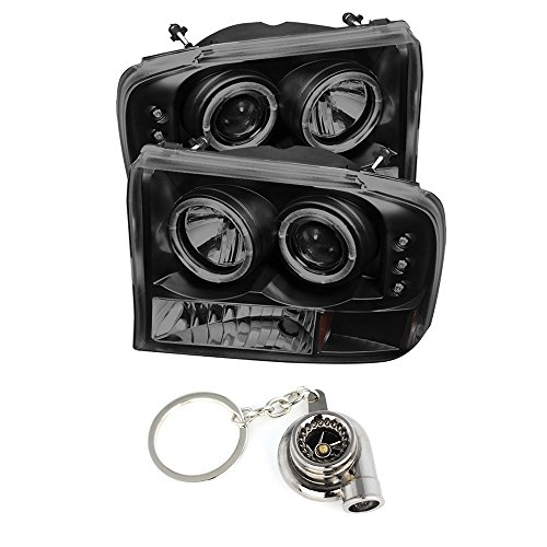 Super Duty Projector Headlamps - Ford F250 Super Duty/Ford Excursion 1PC Projector Headlights Version 2 LED Halo LED Black Housing With Smoke Lens + Free Gift Key Chain Spinning Turbo Bearing
