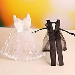 Zehui 24pcs European style Organza Drawstring Candy Bag Bride Dress Groom Tuxedo Gift Pouches Wedding Party Favors Wedding Candy Gifts Baskets