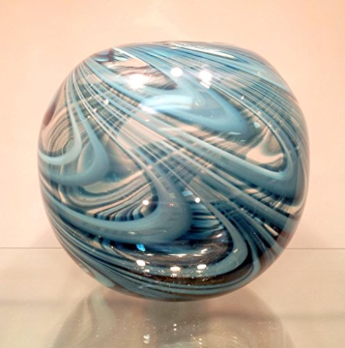"New 7"" Hand Blown Glass Murano Art Style Vase Bowl Blue Clear Italian Decorative"