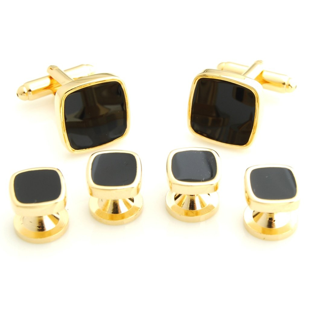The Smart Man Classic Black Enamel Square Cufflinks and Tuxedo Studs Set for Mens Gift - Gold