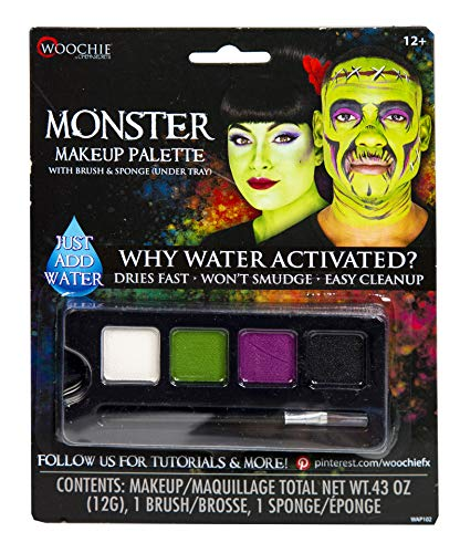 Woochie Water Activated 4-Color Make Up Palette - Professional Quality Halloween Costume Cosmetics - Monster