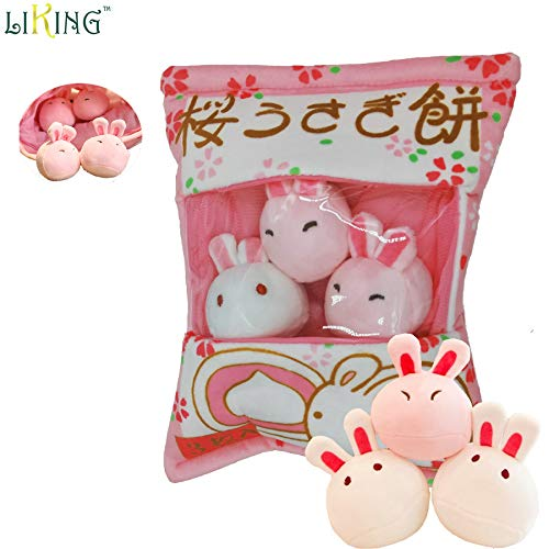 Pig Pudding - Liking Pudding Pillow Stuffed Bunny(3pcs) Easter Bunny Japanese Snack Pillow Ins Popular Pudding Pillow Bag for Mobile Wallet