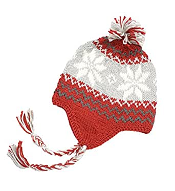 Handmade Crochet Beanie Hat Snowflakes Pattern Red & Gray with Earflaps