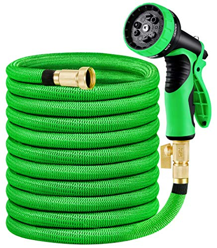 "MoonLa Garden Hose, Expandable Water Hose with 3/4"" Solid Brass Fittings, Extra Strength Fabric - Flexible Expanding Hose with 9 Function Water Spray Nozzle"