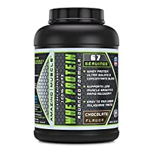 Amazing Muscle 100% Whey Protein Powder *Advanced Formula With Whey Protein Isolate as a Primary Ingredient along with Ultra Filtered Whey Protein Concentrate Chocolate (5 Lb)