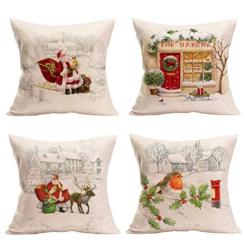Royalours Merry Christmas Elk and Santa Claus Pattern Throw Pillow Covers Cushion Case with Zipper 18x18 Inch Set of 4 Xmas Holiday Decor Pillowcase (Christmas Set)