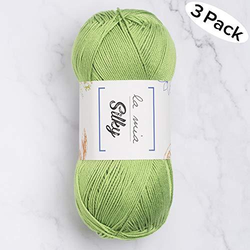 3 Skein La Mia Silky%100 Microfiber Acrylic, Total 10.5 oz Each 3.52 oz (110g) / 328 Yrds (300m), Fine, Sport, Baby Yarn, Green - L025