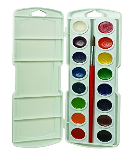 Prang 16000 Oval Pan Watercolor Set, 16 Classic Colors with No. 9 Brush, Grade: Kindergarten to 3 ()