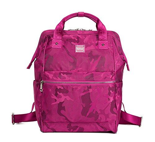 Bolso de hombro de viaje hembra de la marea salvaje de gran capacidad versión coreana de Oxford bolsa de lona tela Mochila de la momia ( Color : Morado oscuro , Tamaño : 27.5*14.5*39.5cm ) Rosa Roja