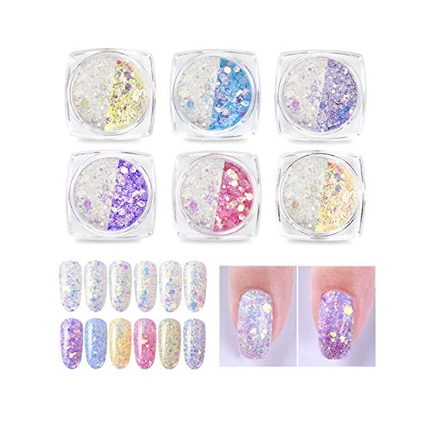 Phogary 6 Boxes Chameleon Glitter for Nail Art, Color Changing Nail Glitter Holographic Sequins Colorful Sparkly Manicure DIY Nail Art 3D Decoration 3