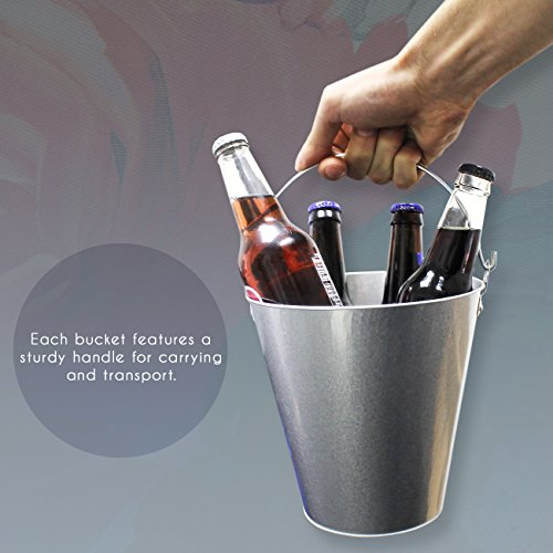 Juvale Set of 3 Small Round Galvanized Buckets - Buckets with Handle, Iron Beer Buckets for Parties, Metal Pails, Silver - 7.2 x 7.2 x 7.2 Inches by Juvale (Image #2)