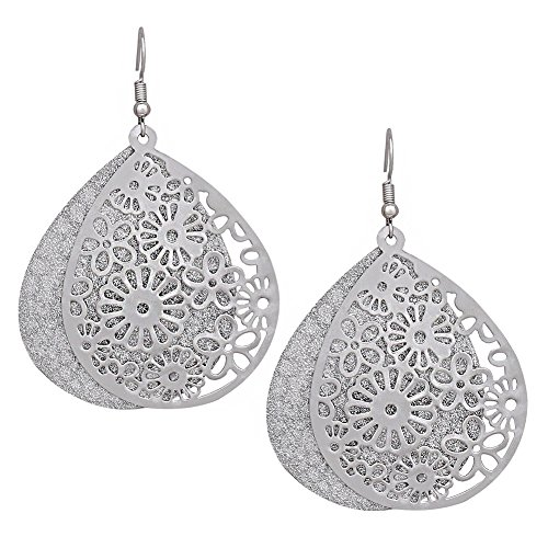 Filigree Dangle Drop Earrings by ALEXY, Double Layer Filigree Flower Teardrop Hook Earring for Girls (Silver)