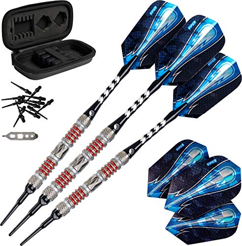 Viper Astro 80% Tungsten Soft Tip Darts with Storage/Travel Case, Red Rings, 18 Grams