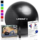 Exercise Ball (Multiple Sizes) for Fitness, Stability, Balance & Yoga - Workout Guide & Quick Pump Included - Anit Burst Professional Quality Design (Black, 45CM)