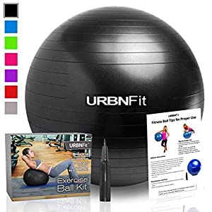 Exercise Ball (75 CM) for Stability & Yoga - Workout Guide Incuded - Professional Quality (Black)