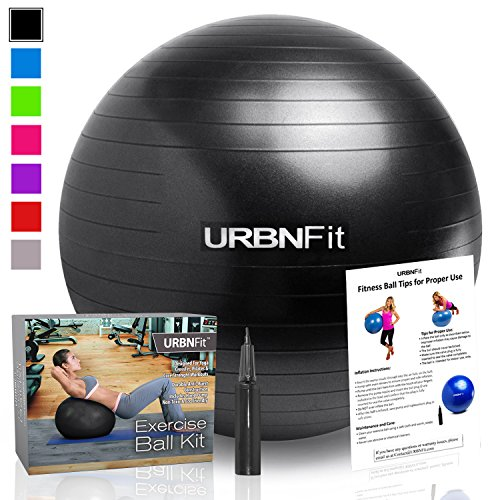 Exercise Ball (Multiple Sizes) for Fitness, Stability, Balance & Yoga - Workout Guide & Quick Pump Included - Anit Burst Professional Quality Design (Black, 85CM) (Desk Excersize Chair)