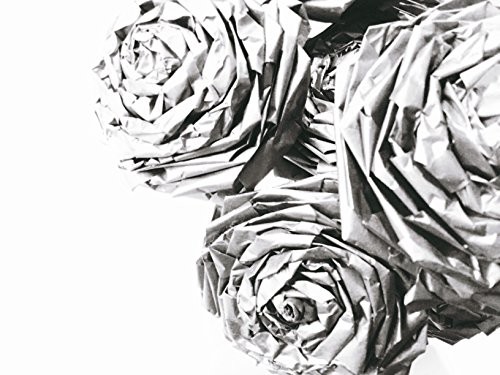 Metallic Silver Paper Rose Bouquet Silver Anniversary Gift Home Décor Christmas Décor Wedding Bridal Bridesmaids Boutonnière Buttonhole (12 Stemmed Roses)