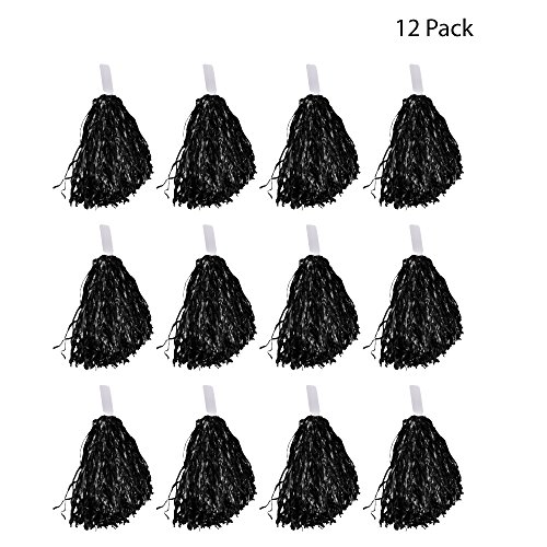 Windy City Novelties Cheerleader Pom Poms - 12 Pack (Black) -