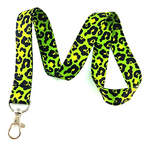 Lime Green Leopard Animal Print Lanyard Key Chain Id Badge Holder