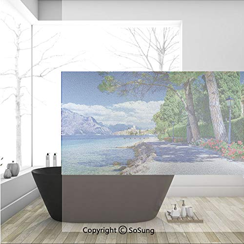 3D Decorative Privacy Window Films,Scenic Lago di Garda Malcesine Italy Stone Bicycle Road with Flowers Lake,No-Glue Self Static Cling Glass Film for Home Bedroom Bathroom Kitchen Office 36x24 -