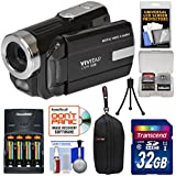 Vivitar DVR-508 HD Digital Video Camera Camcorder (Black) 32GB Card + Batteries & Charger + Case + Tripod + Kit