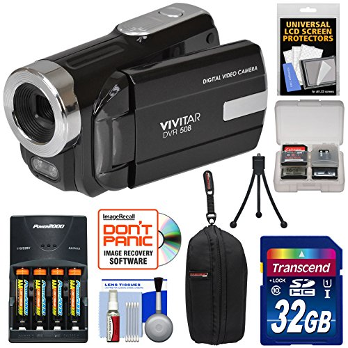 vivitar-dvr-508-hd-digital-video-camera-camcorder-black-with-32gb-card-batteries-charger-case-tripod