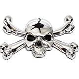 "1 Custom Chrome ""Skull & Bones"" Adhesive 3D Emblem - Hotrod Ratrod Hot Rat Rod"