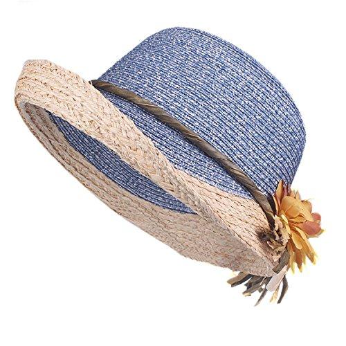 Puissant Good Quality Summer Hat Women Raffia Straw Cap Ladies Big Brim Sun Hat Hat forgirlbeach Hat,58cm,Blue -