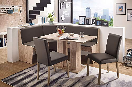 German Furniture Warehouse Nook Table Sylt Breakfast Bench Corner Dining Set 3 Piece Kitchen Modern Style, Seats 6, Beech (Sand)