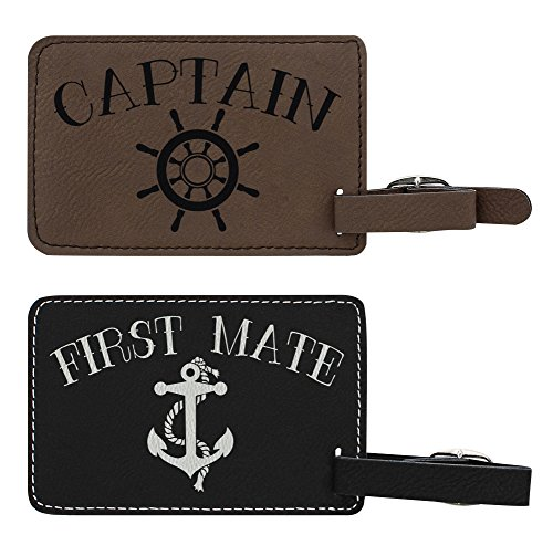 Luggage Tags for Couples Captain & First Mate Matching Couples Luggage Tags Couples Gifts for Newlyweds Anniversary Gifts 2-pack Laser Engraved Leather Luggage Tags Black/Brown by ThisWear