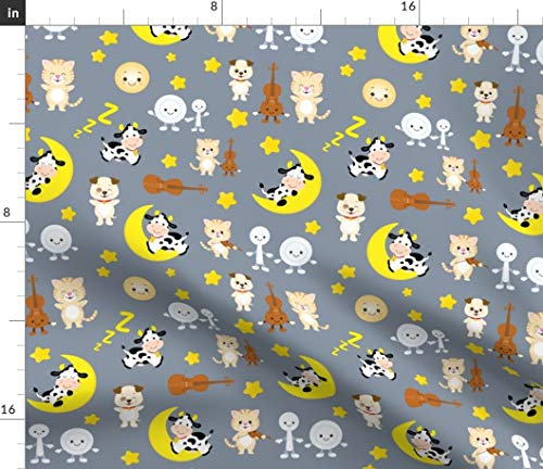 Nursery Rhyme Fabric - Cat Dog Cow Moon Gender Neutral Baby Fiddle Cat Dog Spoon Dish Iheartampersands Nursery Baby by Collide Prints Printed on Petal Signature Cotton Fabric by The Yard