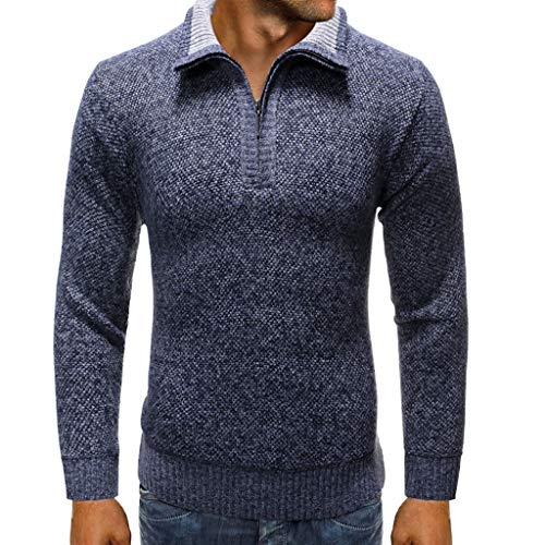 GREFER Sweater Mens 2019 Fashion New Knitted Pullover - Winter Keep Warm Jacket - Slim Fit Zipper Solid T-Shirts Tops Outwear Navy