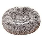 Pet Calming Bed, Mosunx Cat and Dog Bed Luxury Shag Fuax Fur Donut Cuddler Round Donut Dog Beds Indoor Pillow Cuddler for Medium Small Dogs