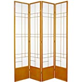 Oriental Furniture 7 ft. Tall Eudes Shoji Screen - Honey - 4 Panels