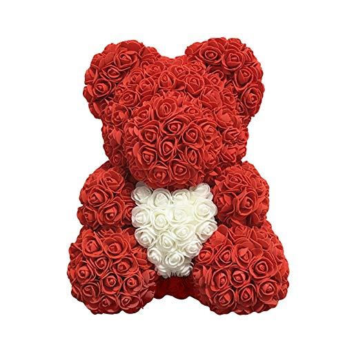 (HsgbvictS Love Heart Foam Rose Bear Flower Lovely Bear Valentine's Day Birthday Romantic Gift Bear Shape, Love Heart Design, Simulation Rose Red)