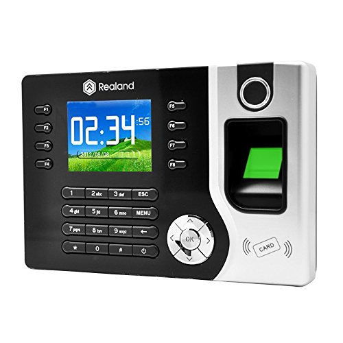 Realand TFT LCD Display Biometric Fingerprint Attendance Machine ID Card Reader TCP/IP Function USB DC12V/1A Time Clock Recorder Employee Checking-in A-C071 Black
