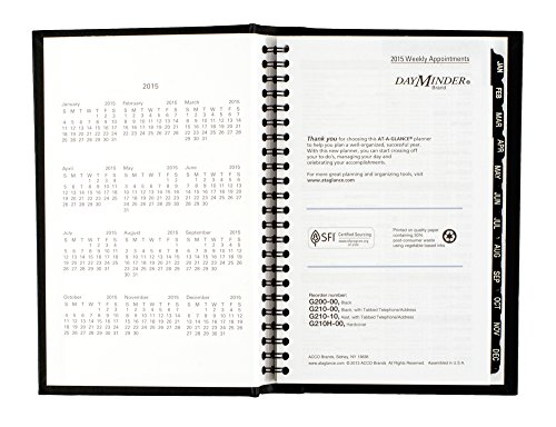 DayMinder Premiere Weekly Appointment Book 2015, Wirebound, Hard Cover, 4.88 x 7.88 Inch Page Size, Black (G210H-00) Photo #8