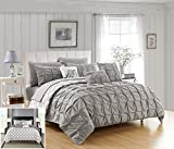 Chic Home 8 Piece Yael Pleated Pintuck and Aztec inspired printed REVERSIBLE with Elephant Embroidered pillow Twin Bed In a Bag Comforter Set Grey