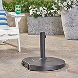 Great Deal Furniture Caiden Outdoor 59.5lb Concrete Circular Umbrella Base with Aluminum Collar, Black