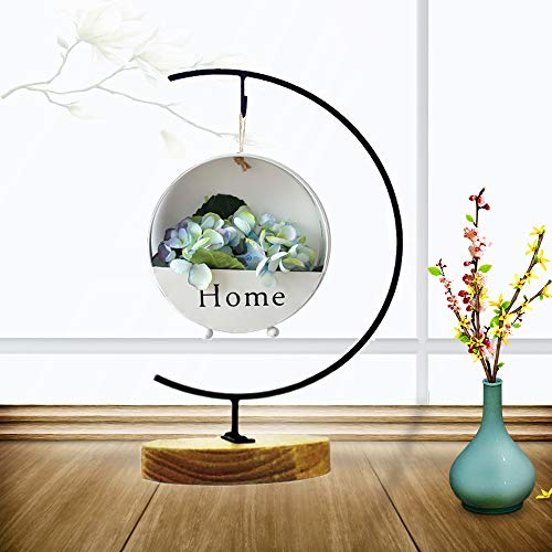 Archi G-shaped Ornament Display Stand Iron Pothook Stand for Hanging Glass Terrarium/Picture with Wood Base (Iron Stand with Wood ()