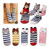 Kidstree Cute Kids Toddler Girls Cotton Crew Socks 5 Pairs Pack Ears Panda Medium (4-6)