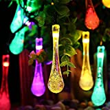 AMAZENAR 1-Pack Multi-color,15.7ft (4.8m) Outdoor Solar String Lights,20LED Fairy Bubble Water Drop Crystal Lights Decorative Lighting for Indoor, Garden, Home, Patio, Lawn,Christmas Decorations