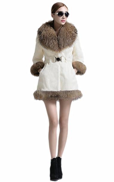 Amazon.com: Queenshiny nuevo de las mujeres 100% Real Rabbit ...