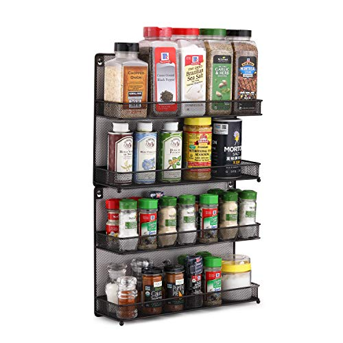 CAXXA 2 PK 2 Tier Mesh Kitchen Counter-top or Wall Mount Spice Rack Jars Storage Organizer, Bronze