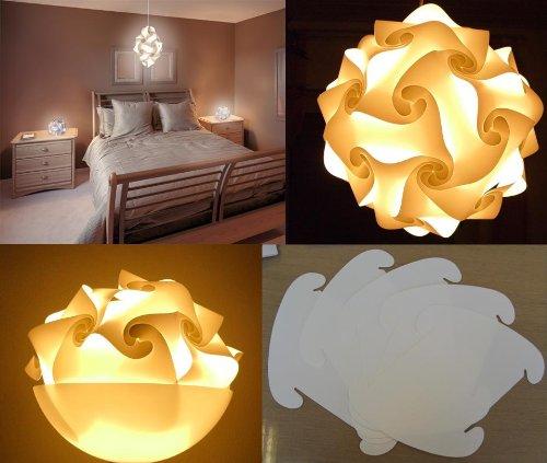 Lambda White Puzzle Lampada Romantica Lamps - Ideal Custom Lighting Lampshade Kit of 30 x XL pieces - Diameter Round app. 45 cm = 17.7