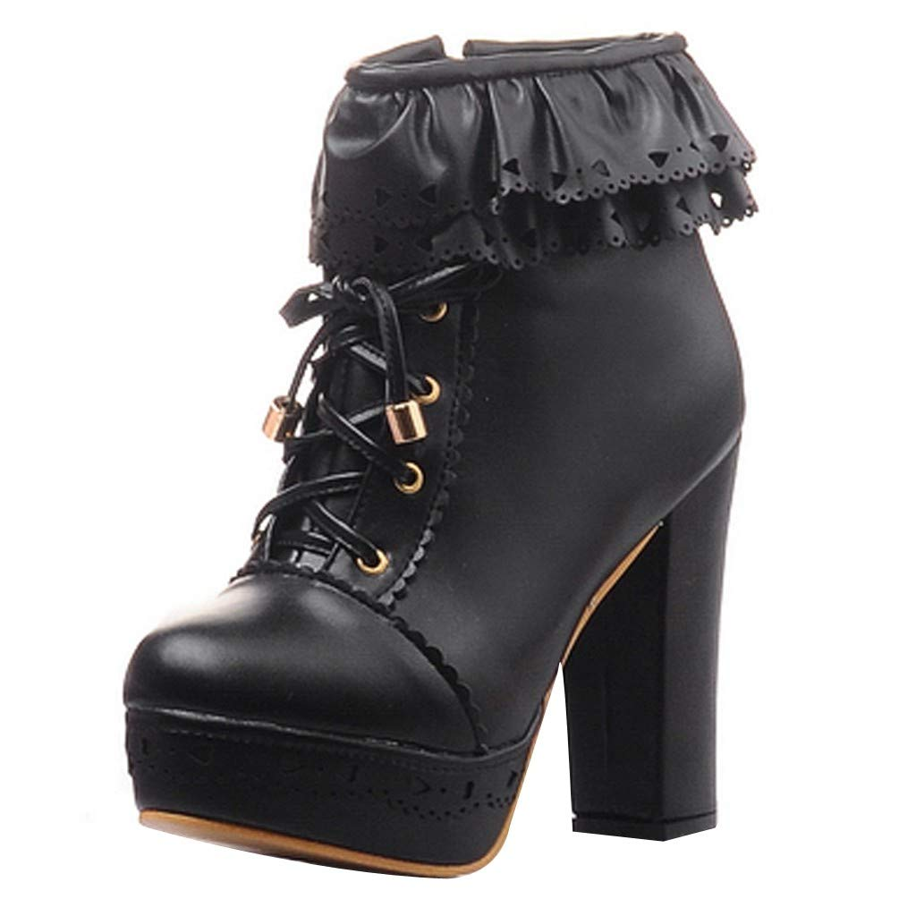 【MOHOLL 】 Women's Lace Up Platform High Heel Ankle Boots Sweet Lolita Shoes PU Leather Ruffle Booties Black