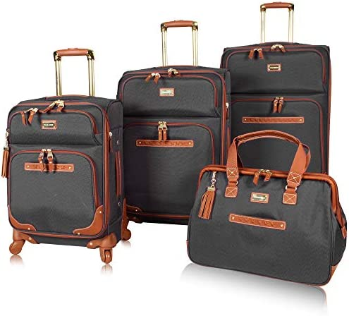 Steve Madden Luggage Set 4 Piece- Softside Expandable Lightweight Suitcase Set With 360 Spinner Wheels – Travel Set includes a Tote Bag, 20-Inch Carry on, 24 28 Inch Checked Suitcases Black