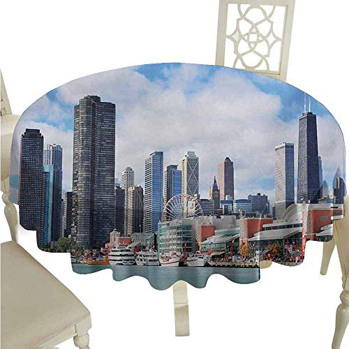 duommhome Chicago Skyline Durable Tablecloth Cloudy Sky on City Contemporary Downtown States Country Office Panorama Easy Care D63 ()